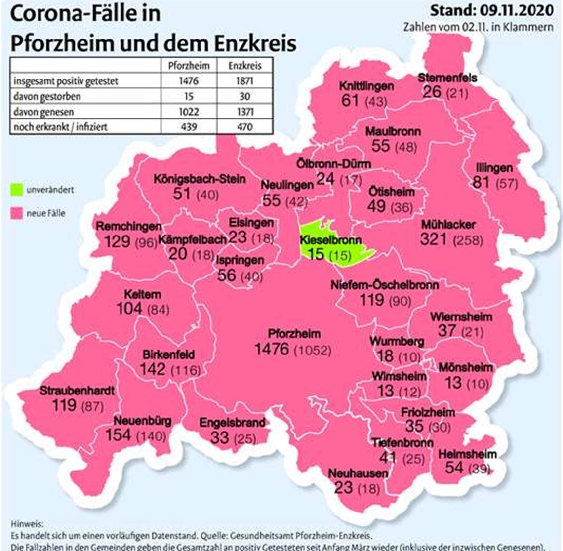 Corona Enzkreis Karte Aktuell